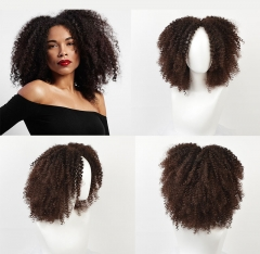 MSIWIGS Brown Synthetic Curly Wigs hair for Women Short Afro Wig brown 14 inches