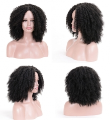 MSIWIGS Brown Synthetic Curly Wigs hair for Women Short Afro Wig black 14 inches