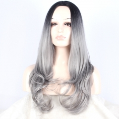 European and American wig headgear is divided into female long straight hair gradient gray one  size