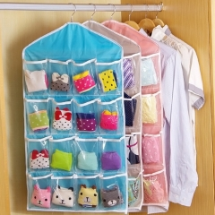 Clothing Hanger Closet Shoes Underpants Storage Bag 16 Pockets Foldable Wardrobe Hanging Bags pink