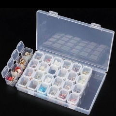 28 Slots Adjustable Plastic Storage Box Storage Box box for jewelry white