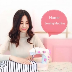 Mini Hand Foot Overlock Motor Sewing Machine Dual Speed Portable Mini Electric Pedal Double pink