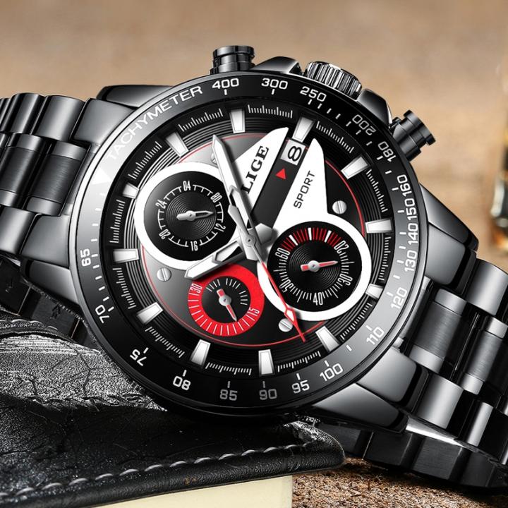 1c98770011c LIGE Mens Watches Top Brand Luxury Fashion Business Quartz Watch Men Sport  Full Steel Waterproof black