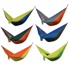 Portable Hammock 2 Person Garden Sport  Camping Hiking Travel Kits hangmat Hanging Bed Outdoor BLUE/YELLOW ONE SIZE