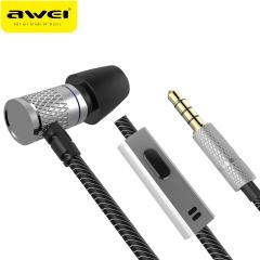 AWEI ES-660I In-Ear Wired Earphone Metal Headset HIFI fone de ouvido Audifonos Casque Heavy silver