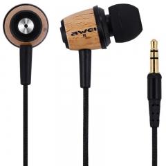 AWEI Q9 Earphone In Ear Fone de ouvido Wooden Earphone Stereo Auriculares Audifonos Nylon Weave YELLOW