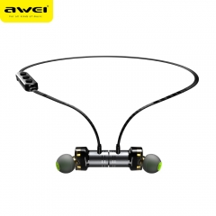 AWEI Newest X670BL Bluetooth Headset Dual Driver Wireless Headphones Bluetooth Earphones with Mic black