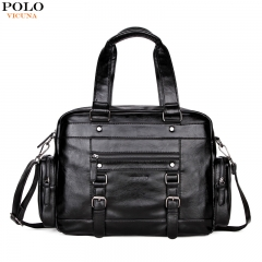 VICUNA POLO Men Leather Travel Bags With Front Pocket Big Capacity Shoulder Bag High Quality Black black large