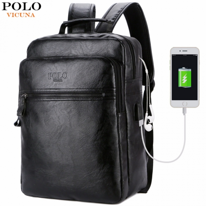 d166b6984827 VICUNA POLO Men Leather USB Cable Travel Laptop Backpack With Headphone  Hole School Backpack black large