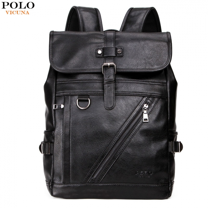 50872a97e2e4 VICUNA POLO Large Capacity Men Leather Backpack For Travel Casual Backpack  High Quality Man black large