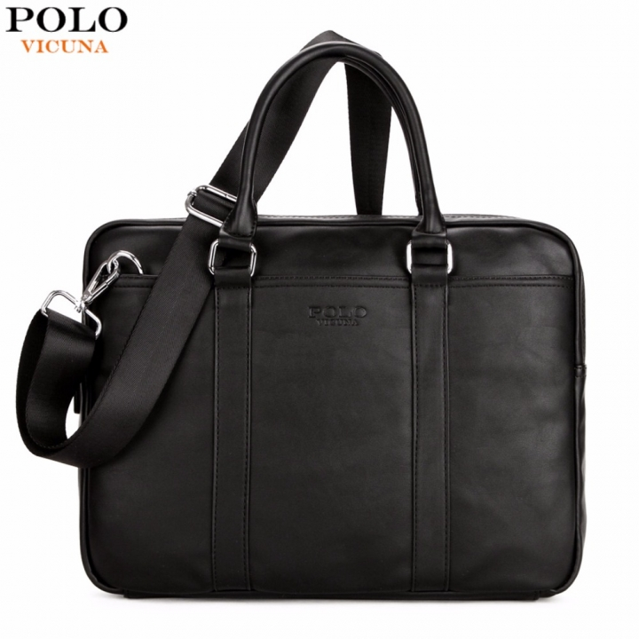 VICUNA POLO Famous Brand Fashion Casual Business Men Leather Briefcase Bag Trendy Solid Leather black large