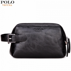 VICUNA POLO Leather Clutch Wallet Wash Bag With Buckle Man Travel Multifunction High Quality Clutch black small