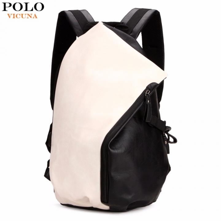 0e3d5ea3f683 VICUNA POLO Dumpling Shape Patchwork Color Preppy Style Leather Backpack  For Men Trendy School Men s white