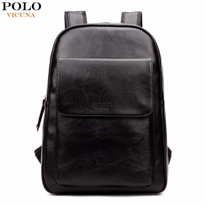 b51f8d9f39d7 VICUNA POLO Fashion Unisex Leather Backpack Casual Man Laptop Backpack High  School Backpack black large