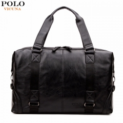 VICUNA POLO Molle Pouch Large Capacity Male Leather Travel Bag Casual Luggage Bag Handbag black large
