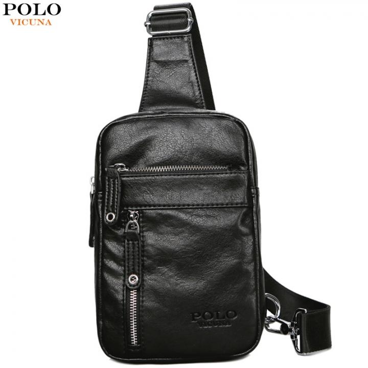 b592d3de6508 VICUNA POLO Theftproof Vintage Leather Brand Men Messenger Bag Men s Sling  Bag With Headphone black small