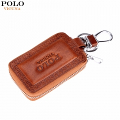VICUNA POLO Genuine Leather Mens Car Key Wallet Famous Brand Embossed Edge Cowhide Key Holder For brown small