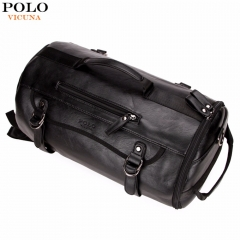VICUNA POLO Personality Large Size Round Leather Mens Travel Bag Fashion Rolling Travel black large