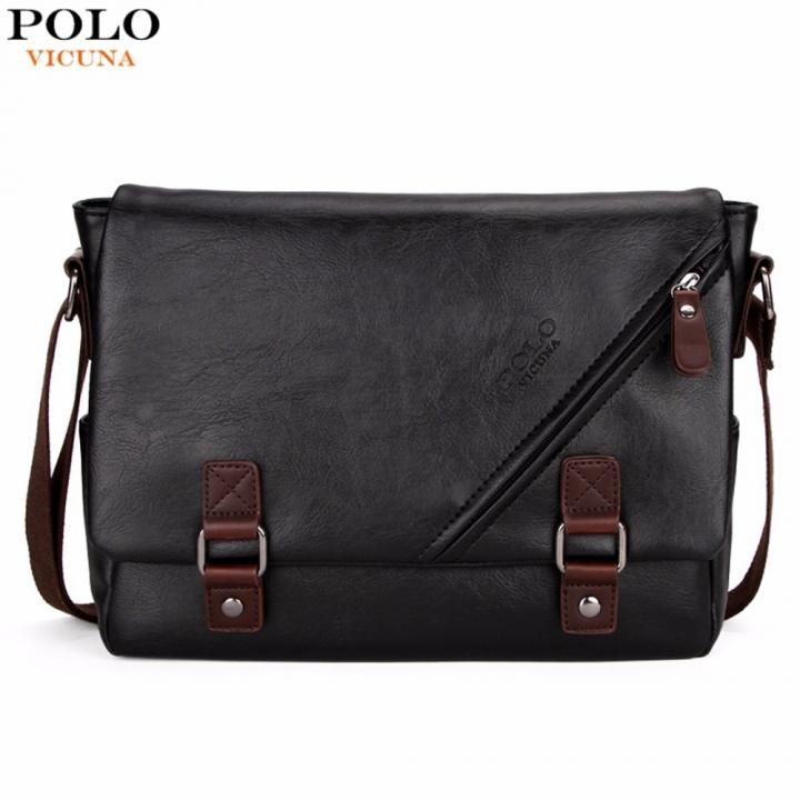 VICUNA POLO Promotional Men Messenger Bag Vintage Large Horizontal Black Satchel  Bag With Double black small 453bcebad2002