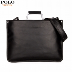 VICUNA POLO Simple Design Leather Men Briefcase With Metal Handle Business Men Document Bag black large