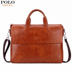 VICUNA POLO New Arrival Fashion Business Man Bag Bright Color Mens Leather Briefcase brown large