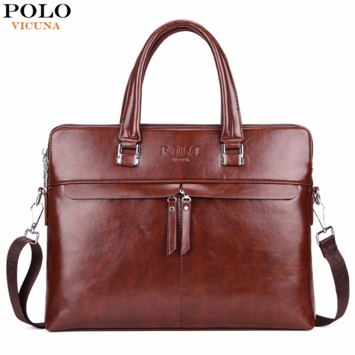 VICUNA POLO Causal Business Double Layer Business Man Briefcase Large Brand Mens Leather Laptop brown large