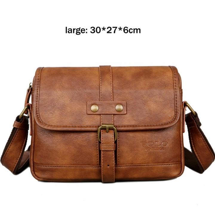 b42f660018dc VICUNA POLO Man Brand Vintage Messenger Bag Front Pocket Leather Men Travel Crossbody  Bag brown large