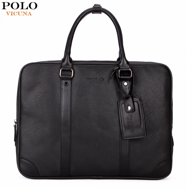 597bbc9615 VICUNA POLO Casual Business Man Handbag Laptop Bags Brand Leather Men  Briefcase Solid Simple black large