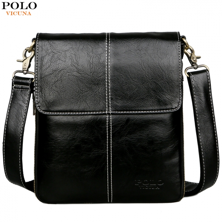 998580a12077 VICUNA POLO Classic Black Soft Leather Man Messenger Bag Scalable Design  Men s Crossbody Bag black small