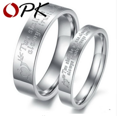 dc90f92ae5875 OPK His And Hers Promise Ring Sets Engagement Couple Stainless Steel Rings  Lovers Men Women Letter silver 10