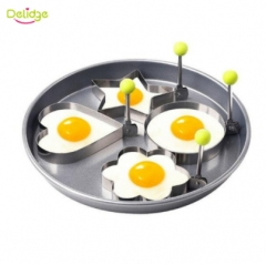 Delidge 1 pc Stainless Steel Egg Mold Flower Round Star Heart Shapes Fried Egg Tool Breaskfast random one size