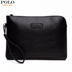 VICUNA POLO England Style Leather Envelope Clutches For Men High Capacity Male Clutch black large