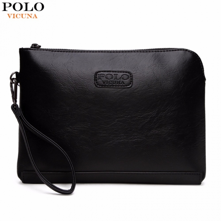 VICUNA POLO England Style Leather Envelope Clutches For Men High Capacity  Male Clutch black large 46aba9bd75e4b