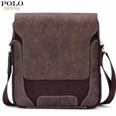 VICUNA POLO Vintage Casual Patchwork Durable Oxford Man Bag With Leather Cover Fashion Mens brown large