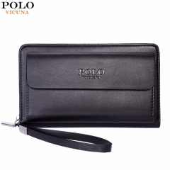 VICUNA POLO Large Capacity Business Leather Mens Clutch Handbag With Gift Pen Practical black large