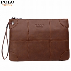 VICUNA POLO Business Leather Mens Clutch Wallet With Belt Brand Big Size High Quality brown large