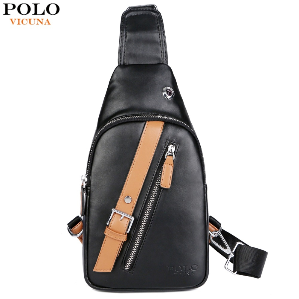 VICUNA POLO Panelled Design Men Leather Messenger Bag Casual Daily ... 7532b0280ed94