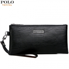 VICUNA POLO Fashion Men Leather Handbag Black Men's Standard Wallets Large Capacity Purse black small