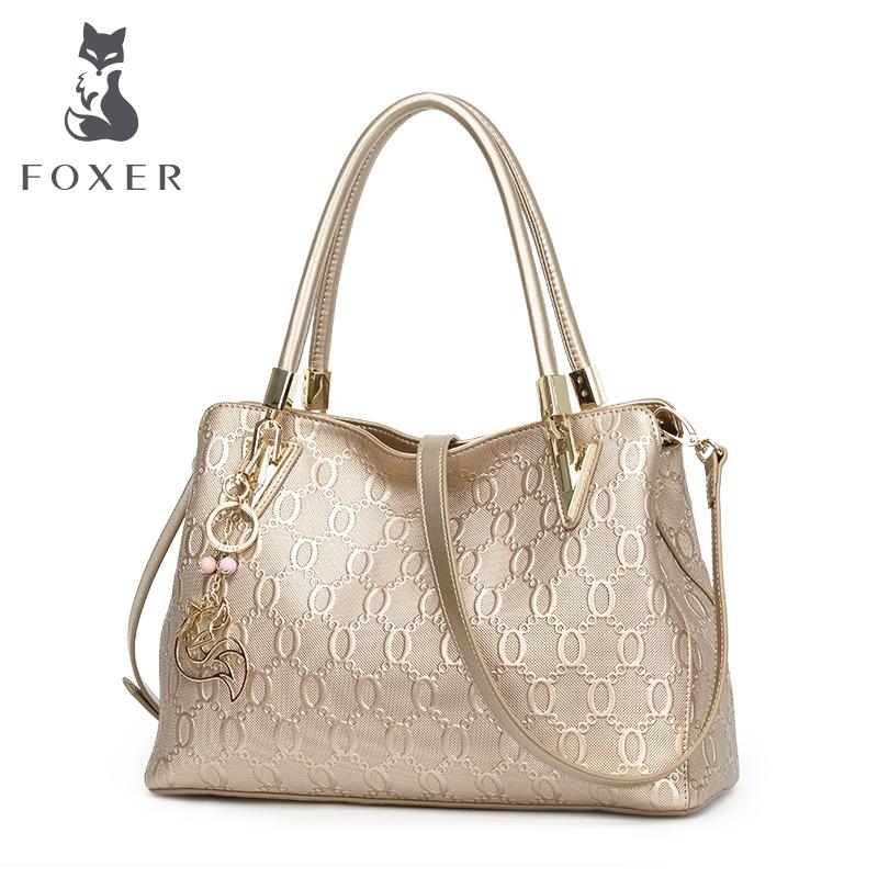 FOXER Women s Cow Leather Shoulder bag Crossbody Bags Female Fashion ... f63e253a81298