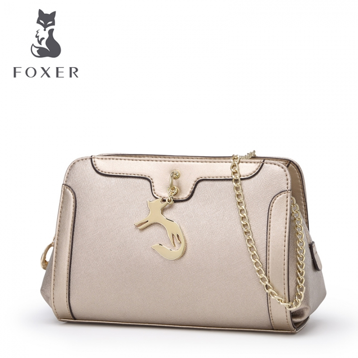 Foxer Brand Women Cow Leather Shoulder Bags Chain Long Strap Crossbody Cowhide Handbags Small Gold