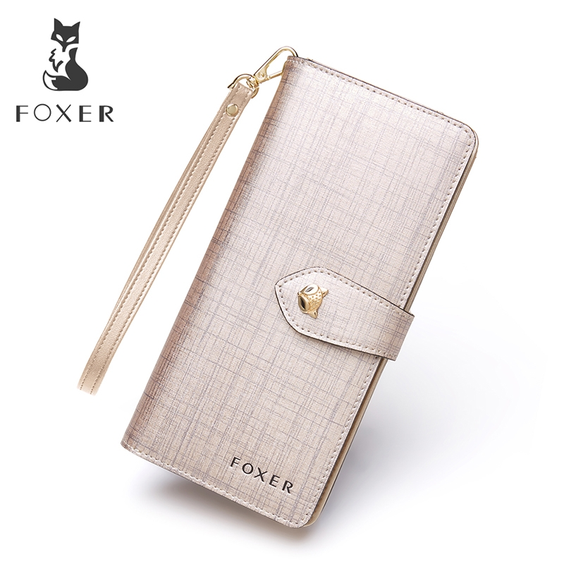 FOXER Women Leather Wallet with Wristlet Purses High Quality Long ... 5551a1935e998