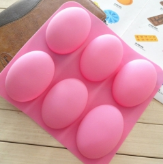 DIY 6 Slots Cake Mold Tool 3D Oval Goose Eggs Shape Silicone Soap Mould Handmade Chocolate pink one size