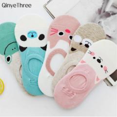 New Free Shipping Women Candy Color Sock Small Animal Cartoon Short 100% Cotton Boat Socks random one size