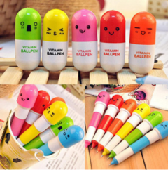 2PCS  Flexible Cartoon Kawaii Ballpoint Pen Office School Supplies Girls Gift Cute Mini Vitamin