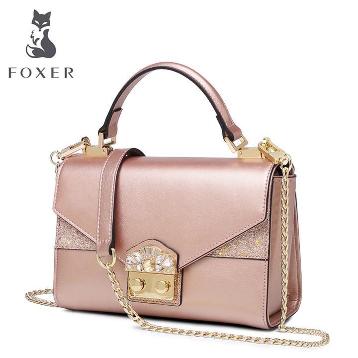 FOXER Brand Women s Split Leather Crossbody Bags Lady Handbags Shoulder  Bags Female High Fashion pink one 92a47d8dc7