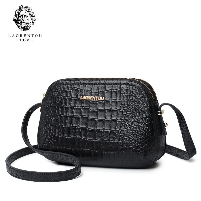 4147544d1b77 Laorentou Women Crossbody Bags Fashion Leather Bags Retro Alligator  Shoulder Bag Purse Lady Tote black one size