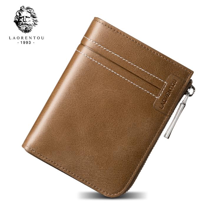 08a744eb0613c LAORENTOU Men Wallets Cow Leather Purse Vintage Genuine Leather Purse  Standard Card Holders Short brown small
