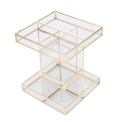 Cosmetics, dresser, desktop multi-functional European metal square cosmetics box yellow + green