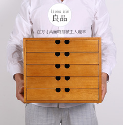 Handmade Japanese wooden tabletop Tongmu cosmetics collection box drawer type sundries jewelry retro yellow stripe