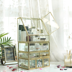 Cosmetics storage box ins European glass transparent table dressing table skin care product yellow dots